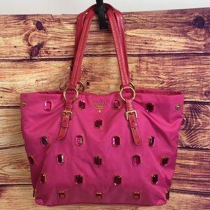Prada Pink Nylon Tote w/ Jewels & Patent Trim